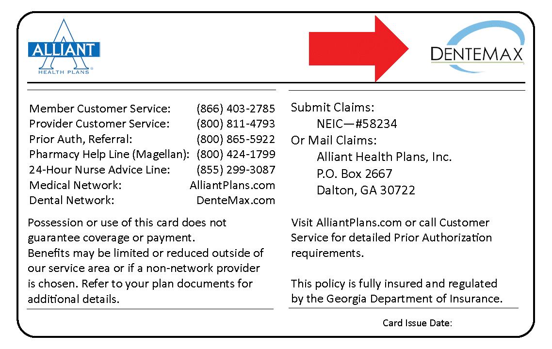 Dentamax logo on card